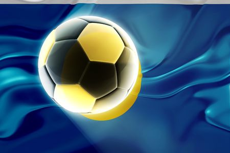 Flag of Palau, national country symbol illustration wavy fabric sports soccer football illustration