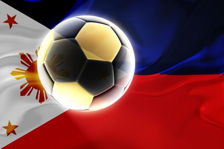 Flag of Philippines, national country symbol illustration wavy fabric sports soccer football illustration