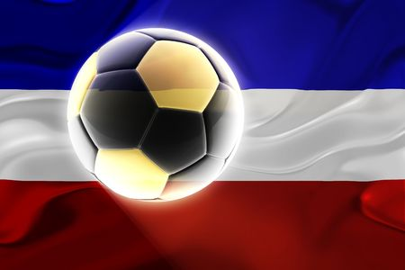 serbia and montenegro: Flag of Serbia and Montenegro, national country symbol illustration wavy fabric sports soccer football