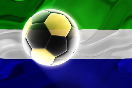 Flag of Sierra Leone, national country symbol illustration wavy fabric sports soccer football Stock Illustration - 6403655