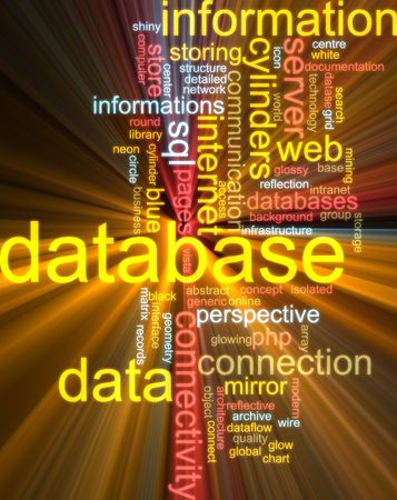 Word cloud concept illustration of database storage glowing light effect  illustration