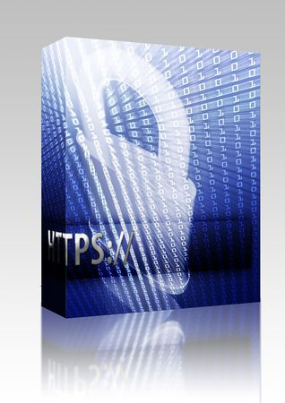 https: Software package box Online computer security illustration with locked padlock