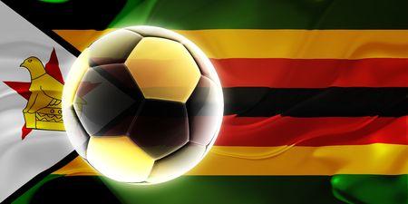 Flag of Zimbabwe, national country symbol illustration wavy fabric sports soccer football Stock Illustration - 6415884