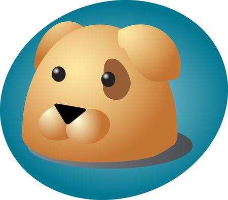 eyepatch: Cute cartoon illustration of a dog head