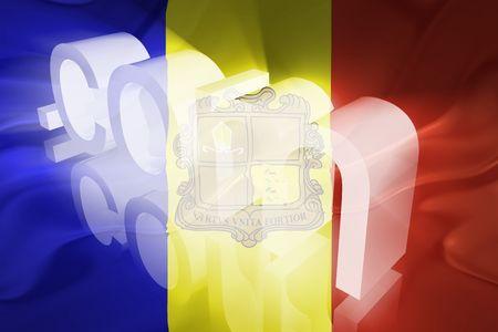 Flag of Andorra, national country symbol illustration wavy fabric www internet e-commerce illustration