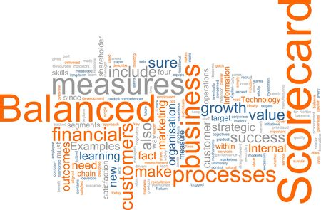 outcomes: Word cloud concept illustration of balanced scorecard Stock Photo