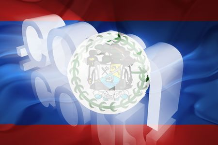 dotcom: Flag of Belize, national country symbol illustration wavy fabric www internet e-commerce Stock Photo