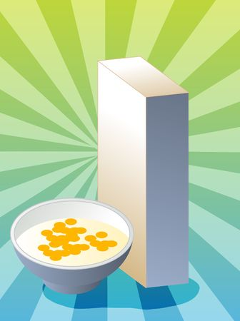 corn flakes: Breakfast cereal with milk in bowl with box