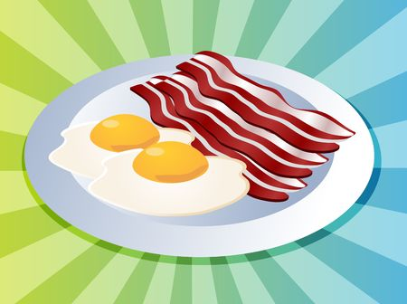 sunnyside: Bacon and eggs breakfast on plate  illustration