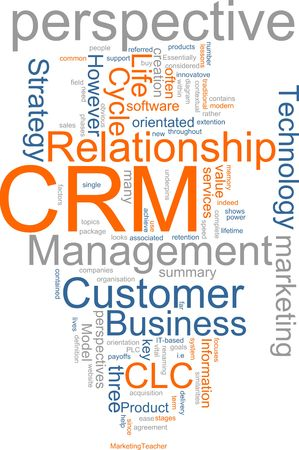customer relationship: Word cloud concept illustration of CRM Customer Relationship Management Stock Photo