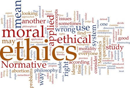 justify: Word cloud concept illustration of moral ethics