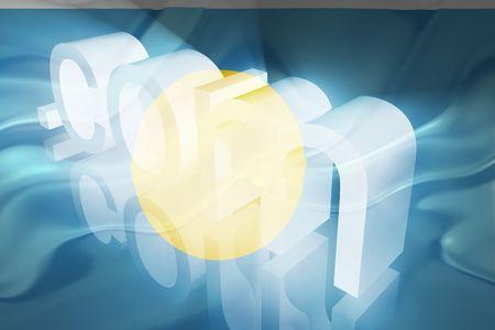 Flag of Palau, national country symbol illustration wavy fabric www internet e-commerce illustration