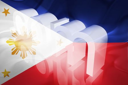 dotcom: Flag of Philippines, national country symbol illustration wavy fabric www internet e-commerce Stock Photo
