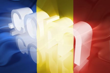 dotcom: Flag of Romania, national country symbol illustration wavy fabric www internet e-commerce