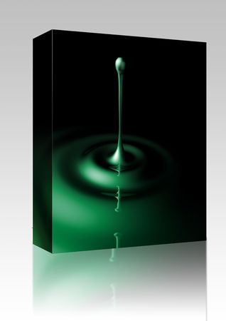 suspend: Software package box Liquid splash with ripples, glossy reflective surface