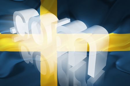 Flag of Sweden, national country symbol illustration wavy fabric www internet e-commerce illustration