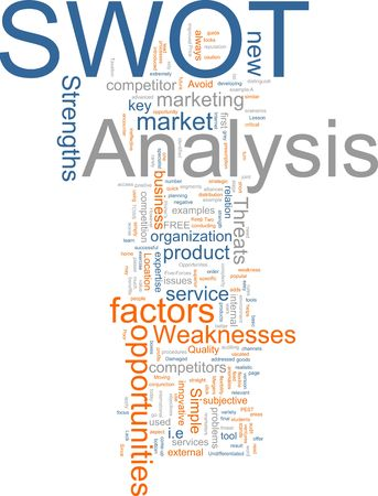 competitor: Word cloud concept illustration of SWOT Analysis Stock Photo
