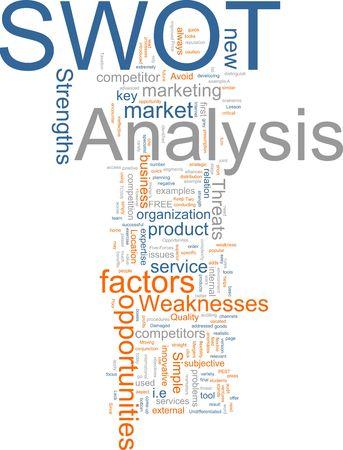 swot: Word cloud concetto illustrazione della SWOT Analysis  Archivio Fotografico