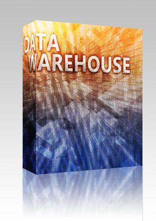 data warehouse: Software de paquete cuadro de data warehouse abstracta, equipo tecnolog�a concepto ilustraci�n  Foto de archivo