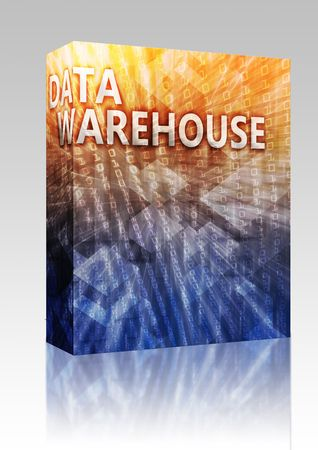 Software package box Data warehouse abstract, computer technology concept illustration illustration