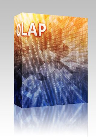 Software package box OLAP Business intellegence abstract, computer technology concept illustration illustration
