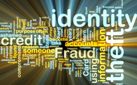 identity theft: Word cloud tags concept illustration of identity theft glowing light effect  Stock Photo