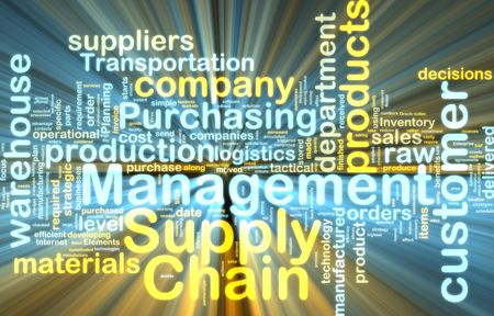 inventory: Word cloud tags concept illustration of supply chain management glowing light effect  Stock Photo