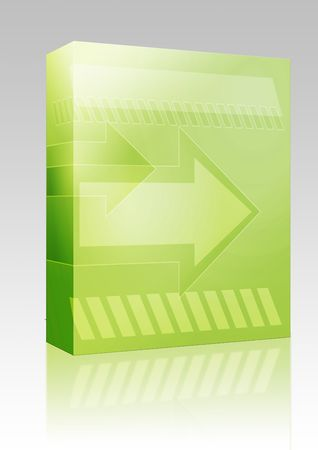 thrusting: Software package box Forward moving arrows pointing right, design illustration