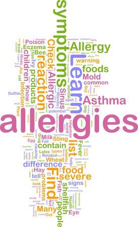 Word cloud concept illustration of  allergies symptoms illustration