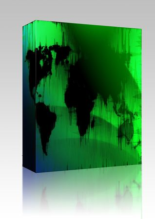 Software package box Map of the world illustration, glowing outline gradient colors illustration
