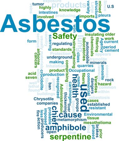 asbestos: Word cloud concept illustration of  asbestos hazard