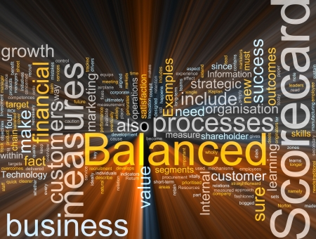 outcomes: Word cloud concept illustration of balanced scorecard glowing light effect  Stock Photo