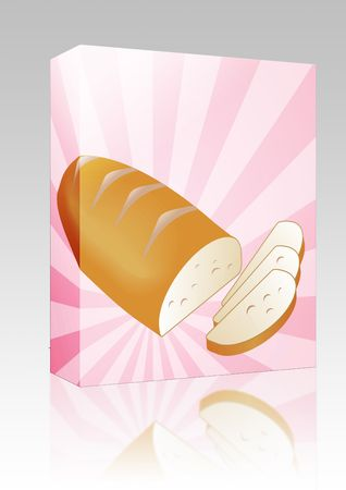 crusty: Software package box Illustration of a sliced loaf of bread on radial burst background