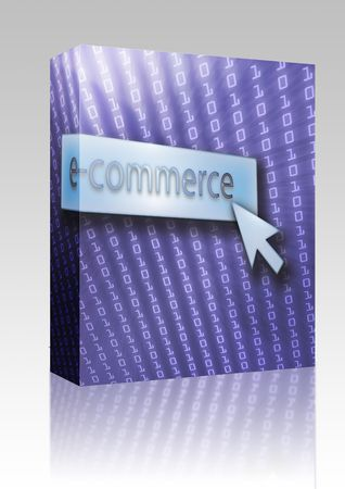 clicking: Software package box E-commerce button with clicking mouse icon, digital background