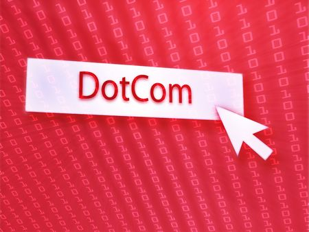 clicking: Dotcom button with clicking mouse icon, digital background Stock Photo