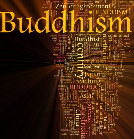 Word cloud concept illustration of  Buddhism religion glowing light effect Stock Illustration - 6474012
