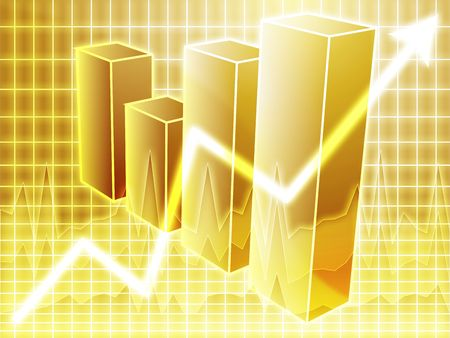 gold bars: Barchart and upwards line graph financial diagram