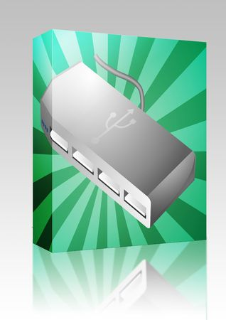 computer peripheral: Software package box Computer USB hub peripheral hardware device illustration