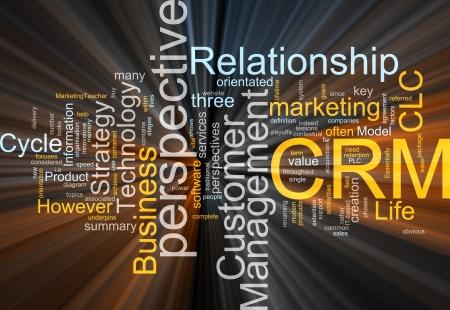 Word cloud concept illustration of CRM Customer Relationship Management glowing light effect  illustration