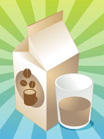 milk carton: Coffee milk carton with filled glass illustration Stock Photo