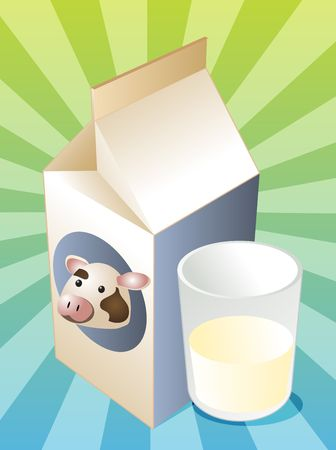 Cow milk carton with filled glass illustration illustration