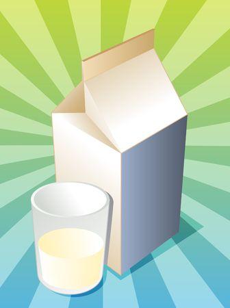 carton de leche: Cart�n de leche llano con ilustraci�n de vidrio lleno