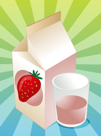 Strawberry milk carton with filled glass illustration illustration