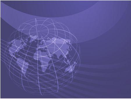 Map of the world illustration, with globe grid Stock Illustration - 6474172