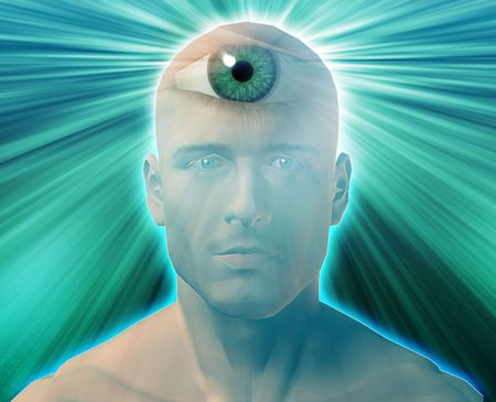 Man with third eye, psychic supernatural senses Stock Photo - 6474216