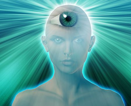 psique: Mujer con tercer ojo, lo sobrenatural ps�quico sentidos