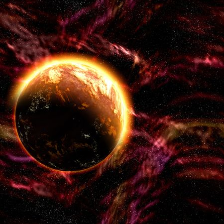 Science fiction cosmic planet complex space scene illustration Stock Illustration - 6474205