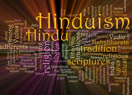 vedas: Word cloud concept illustration of  Hinduism religion glowing light effect