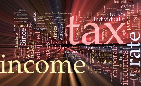 impuestos: Ilustraci�n de concepto de nube de Word de efectos de luz resplandeciente de impuesto sobre la renta