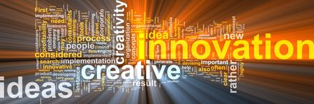 representations: Word cloud concept illustration of innovation creative glowing light effect  Stock Photo